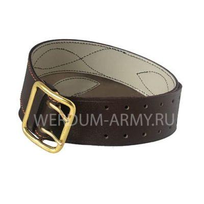 ремень офицерский кожаный коричневый двуслойный купить оптом