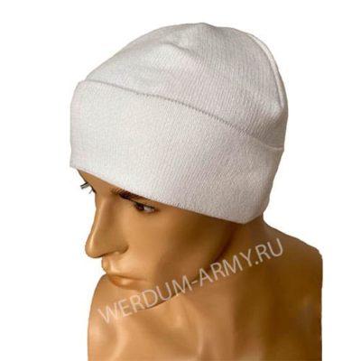 шапка одинарной вязки на флисе белая купить