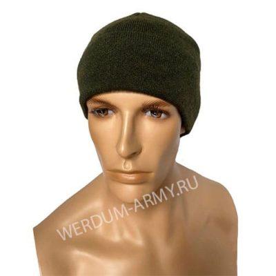 шапка одинарной вязки на флисе олива купить