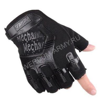 Тактические перчатки Mechanix без пальцев черные купить