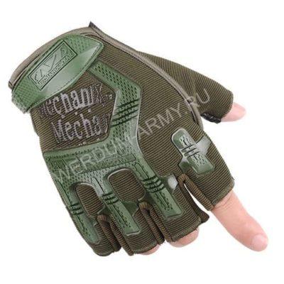 Тактические перчатки Mechanix без пальцев олива купить