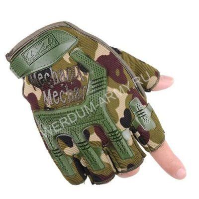 Тактические перчатки Mechanix без пальцев вудланд купить